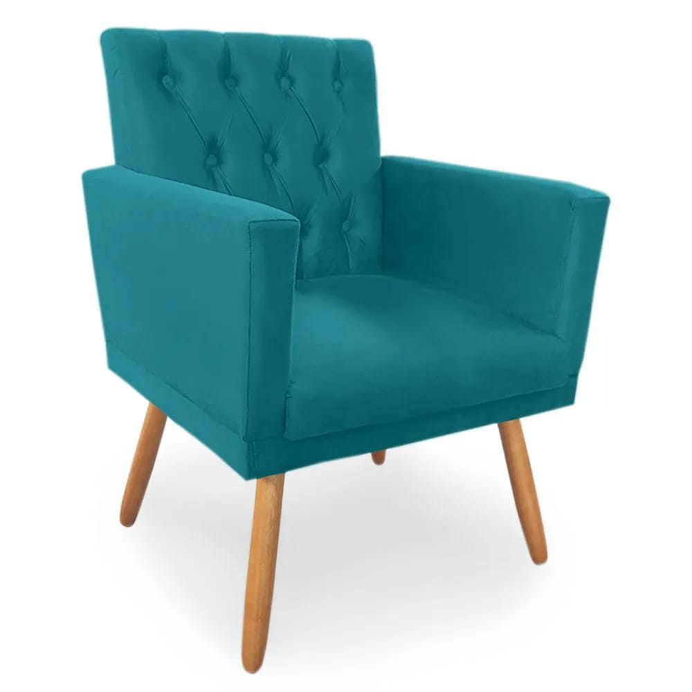 Poltrona Decorativa Nina Capitone Azul Turquesa - Bela Casa Shop