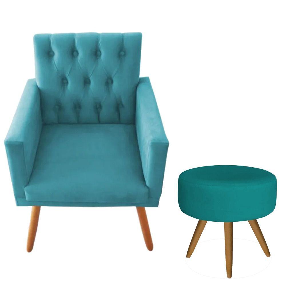 Poltrona Decorativa Nina Capitone e Puff Redondo Azul Turquesa - Bela Casa Shop