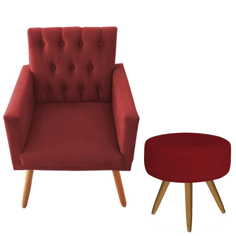 Poltrona Decorativa Nina Capitone e Puff Redondo Vermelho - Bela Casa Shop