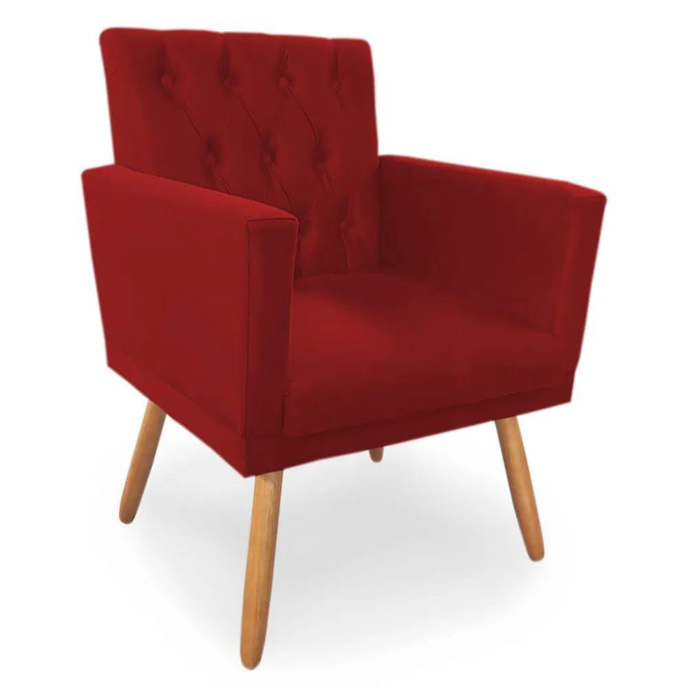 Poltrona Decorativa Nina Capitone Vermelho - Bela Casa Shop
