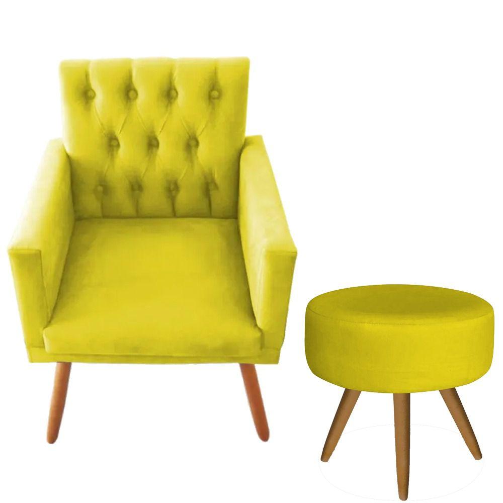 Poltrona Decorativa Nina com Capitone e Puff Redondo Amarelo- Bela Casa Shop