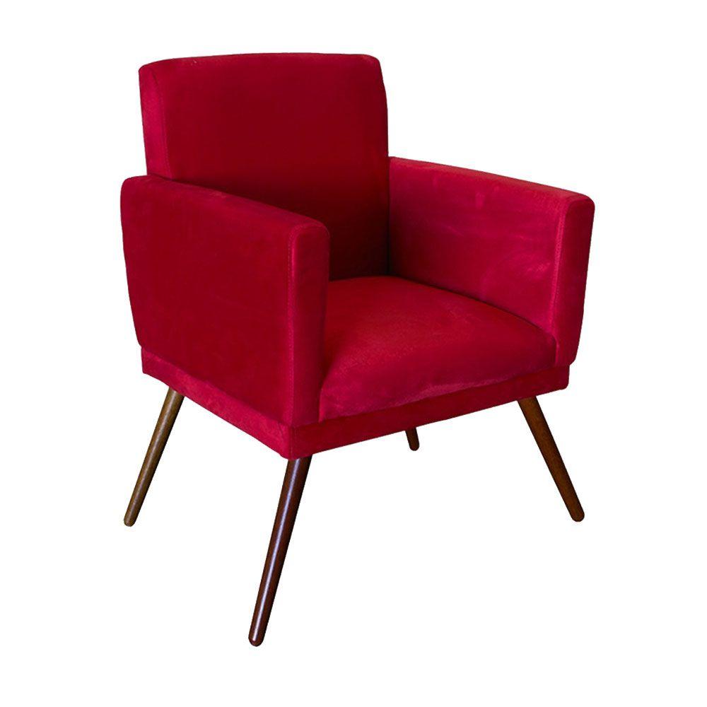 Poltrona Decorativa Nina Com Rodapé Suede Vermelho