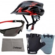 Capacete Bike Ciclismo + Luvas + Óculos Lente Polarizada Raptor Cores