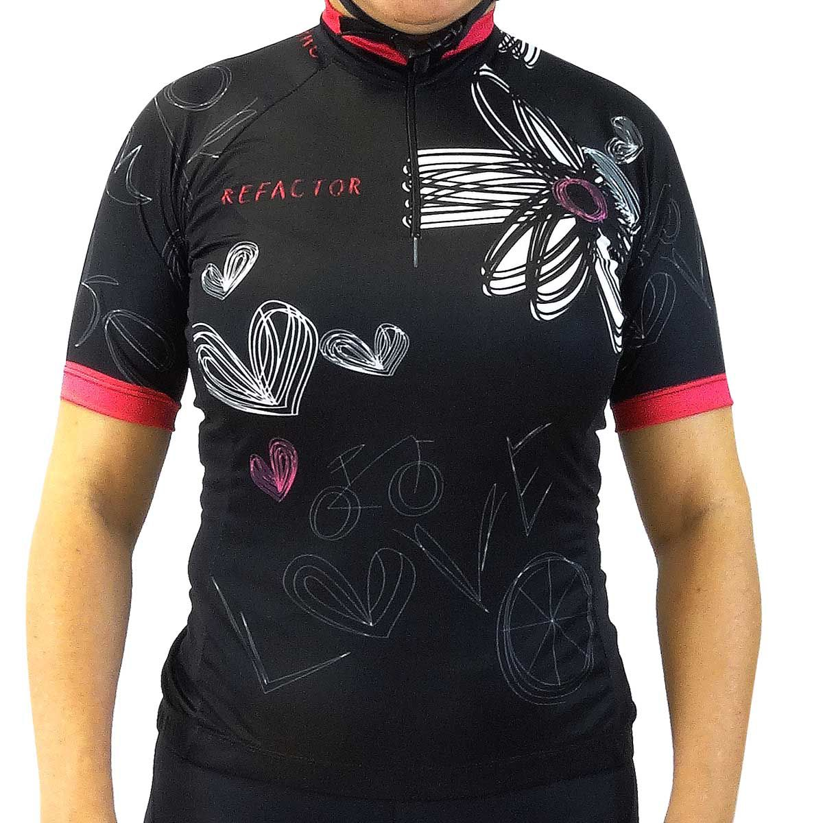 Camisa Blusa Ciclismo Feminina Refactor Love Bike Preta