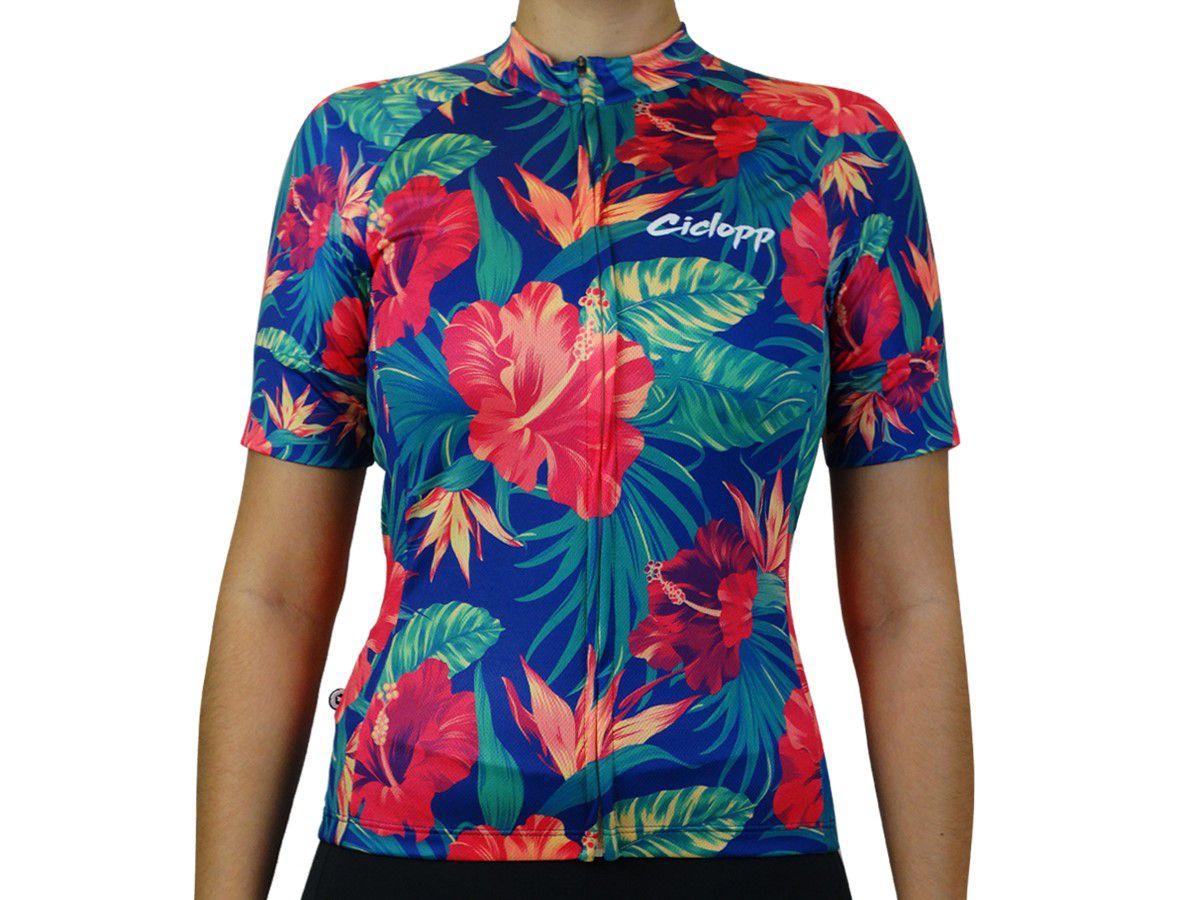 Camisa Ciclismo Feminina Ciclopp Tropic Azul