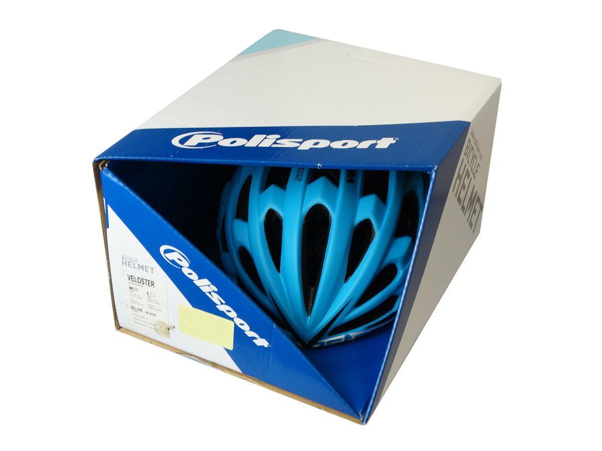 Capacete Ciclismo Polisport Veloster Preto/azul Tam. M