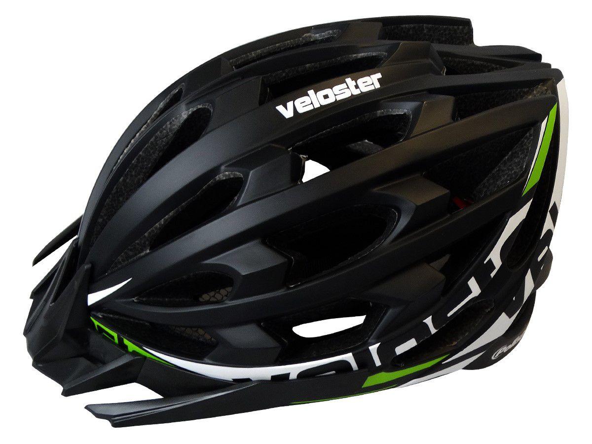 Capacete Ciclismo Polisport Veloster Preto/Verde Tam. L  58/61