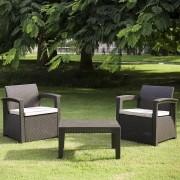 Conjunto de Sofá 2 Lugares Para Jardim Área Externa Rattan - D7HOME - Marrom