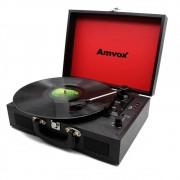 Vitrola Amvox Case em Madeira USB 10W AVT1199 Preta Bivolt