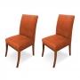 Conjunto 2 Cadeiras Raquel para Sala de Jantar Base de Peroba Suede Telha