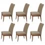 Conjunto 6 Cadeiras Sala de Jantar Lana Aveludado Nude