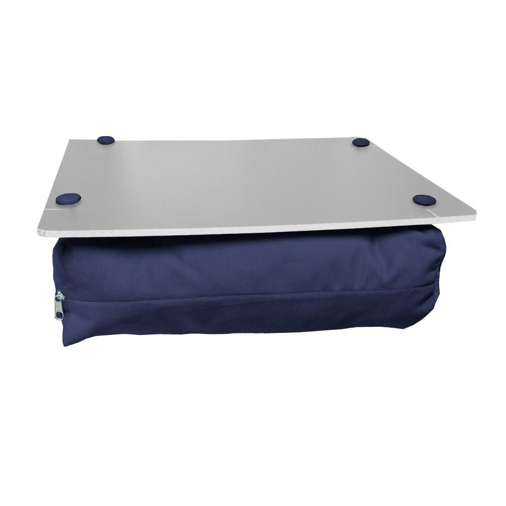 Almofada Apoio Para Notebook Superfície em Madeira Almofada Macia Tecido Suede Azul Marinho