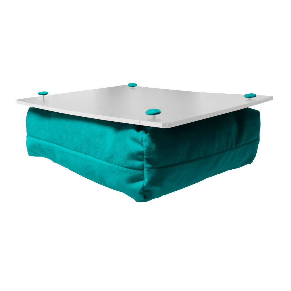 Almofada Apoio Para Notebook Superfície em Madeira Almofada Macia Tecido Suede Azul Tiffany
