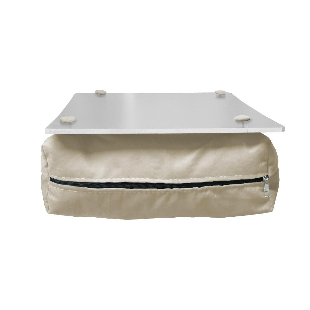 Almofada Apoio Para Notebook Superfície em Madeira Almofada Macia Tecido Suede Bege