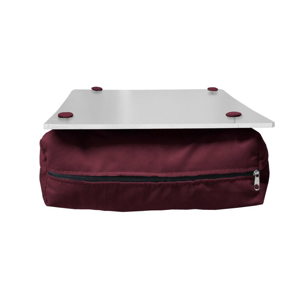 Almofada Apoio Para Notebook Superfície em Madeira Almofada Macia Tecido Suede Bordô