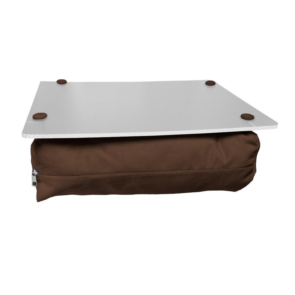 Almofada Apoio Para Notebook Superfície em Madeira Almofada Macia Tecido Suede Marrom
