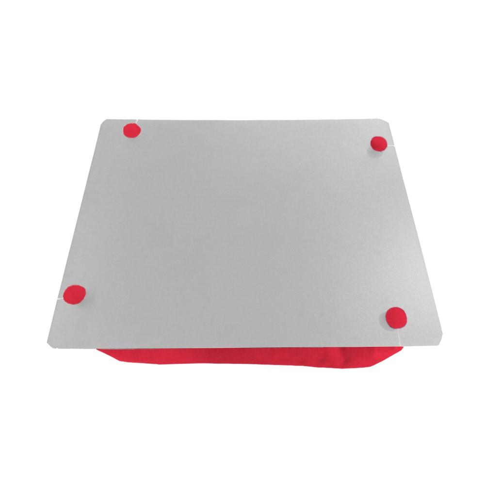 Almofada Apoio Para Notebook Superfície em Madeira Almofada Macia Tecido Suede Vermelho