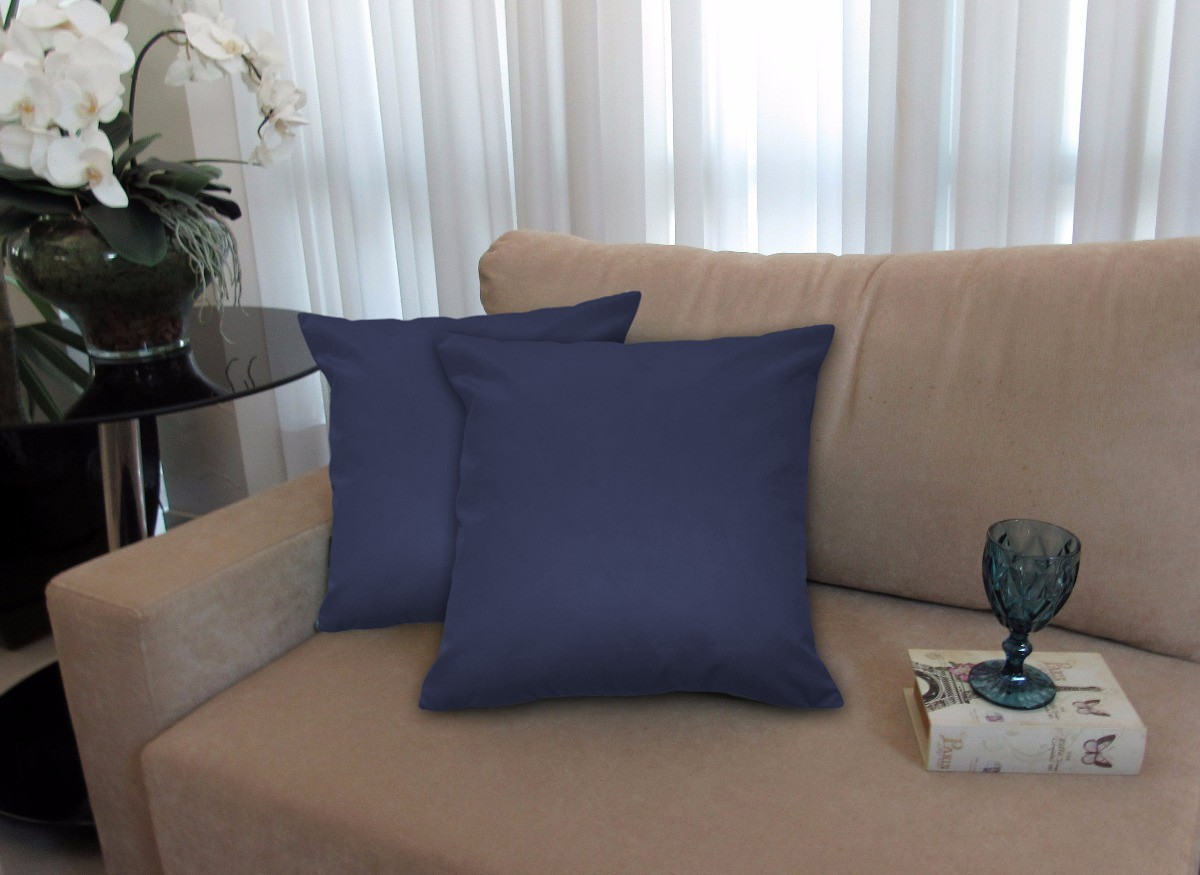 Almofada Decorativa 50x50 Tecido Suede Azul Marinho