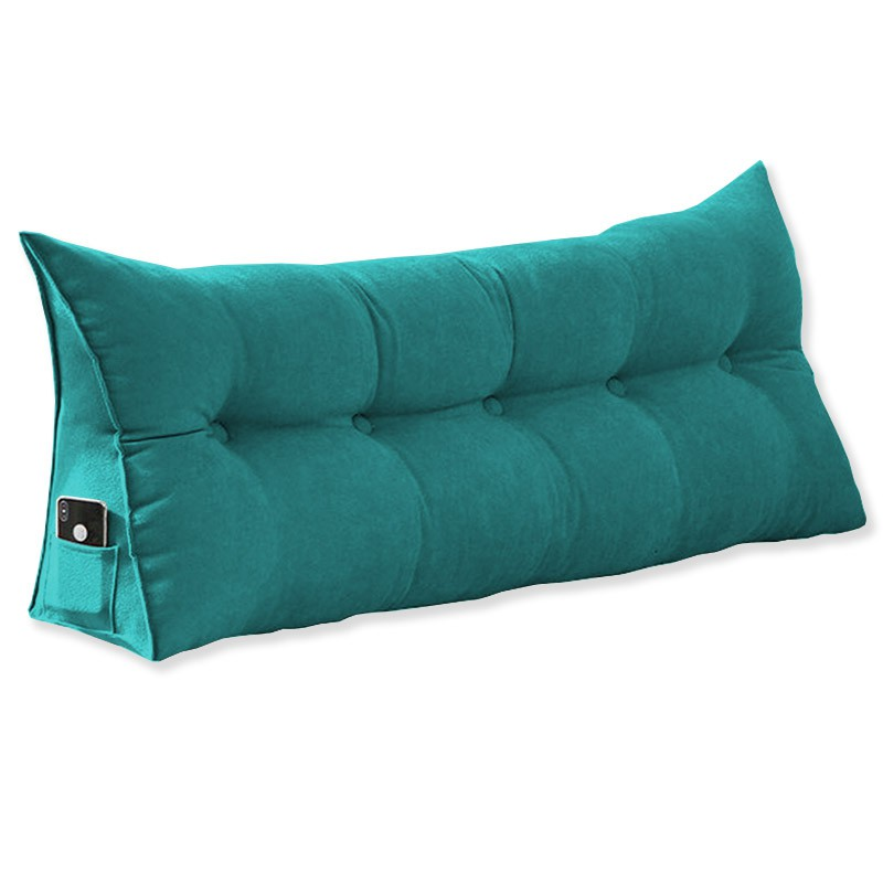 Almofada para Cabeceira Mel 1,00 m Solteiro Travesseiro Apoio para Encosto Macia Formato Triângulo Suede Azul Tiffany