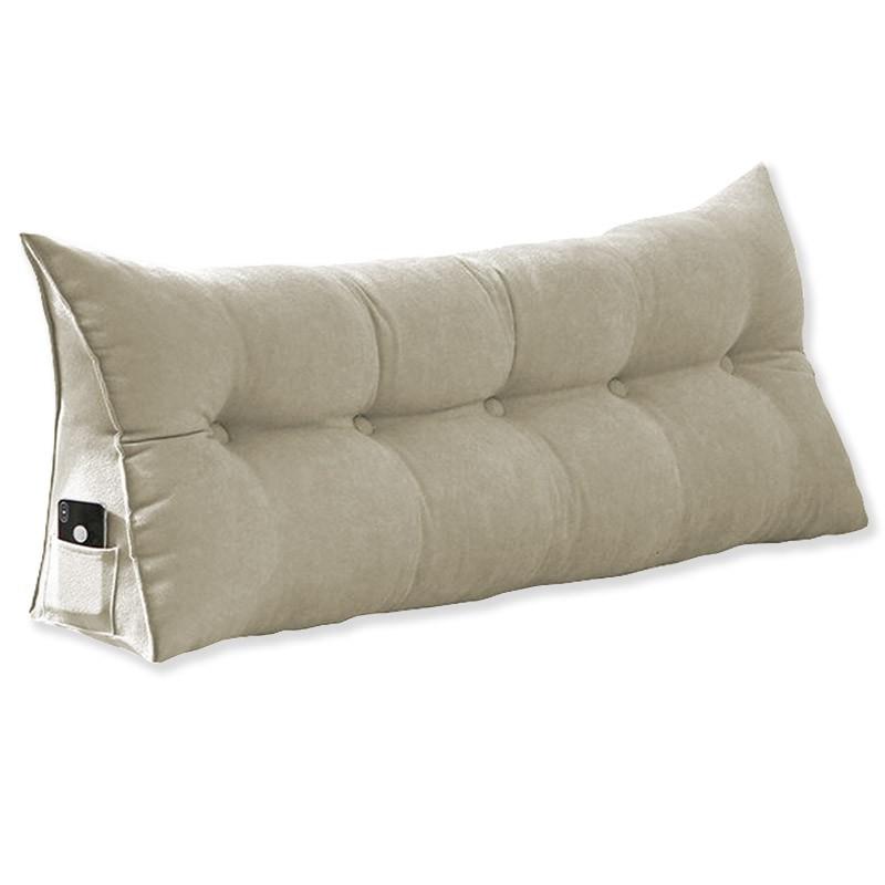 Almofada para Cabeceira Mel 1,00 m Solteiro Travesseiro Apoio para Encosto Macia Formato Triângulo Suede Bege