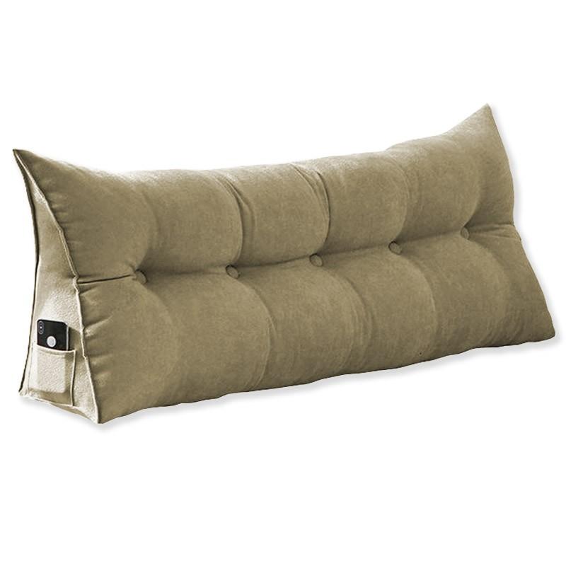 Almofada para Cabeceira Mel 1,00 m Solteiro Travesseiro Apoio para Encosto Macia Formato Triângulo Suede Nude