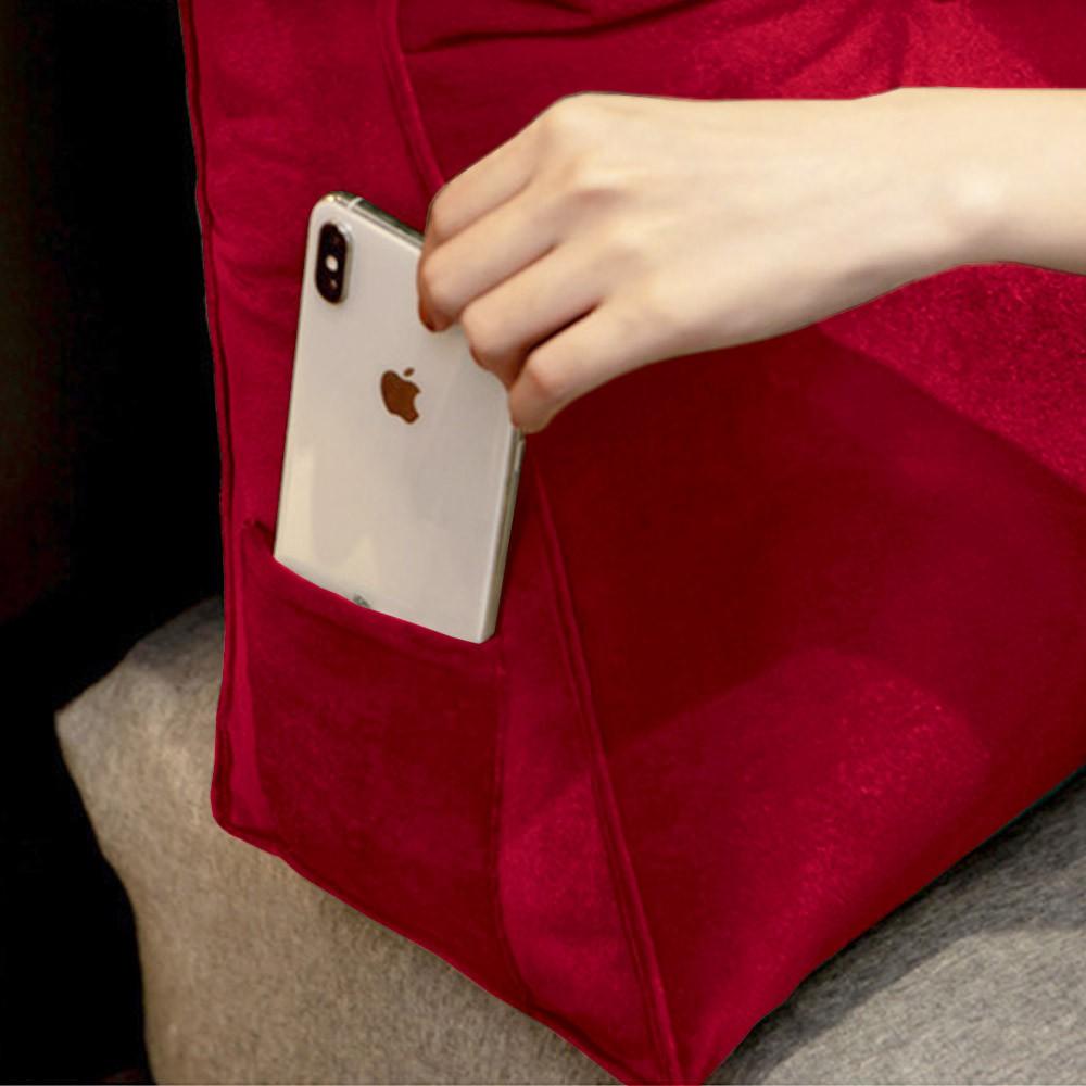 Almofada para Cabeceira Mel 1,00 m Solteiro Travesseiro Apoio para Encosto Macia Formato Triângulo Suede Vermelho