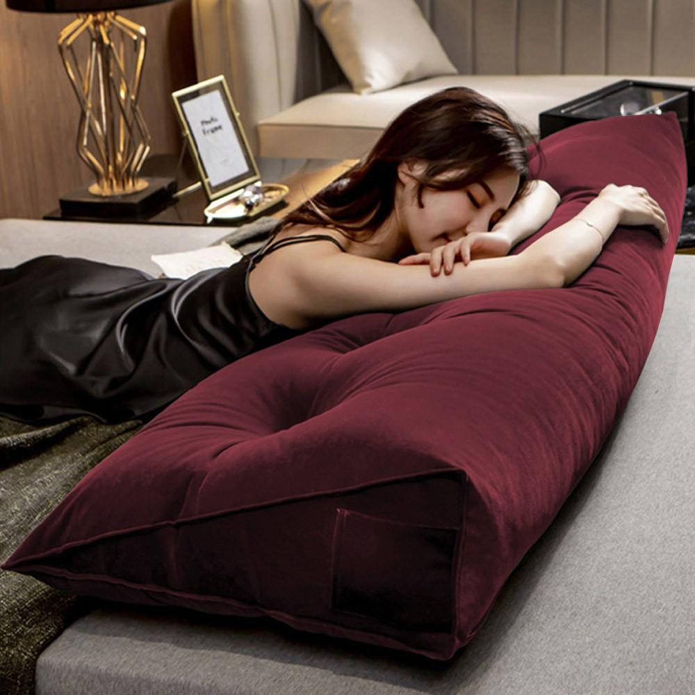 Almofada para Cabeceira Mel 1,00 m Solteiro Travesseiro Apoio para Encosto Macia Formato Triângulo Suede Bordô