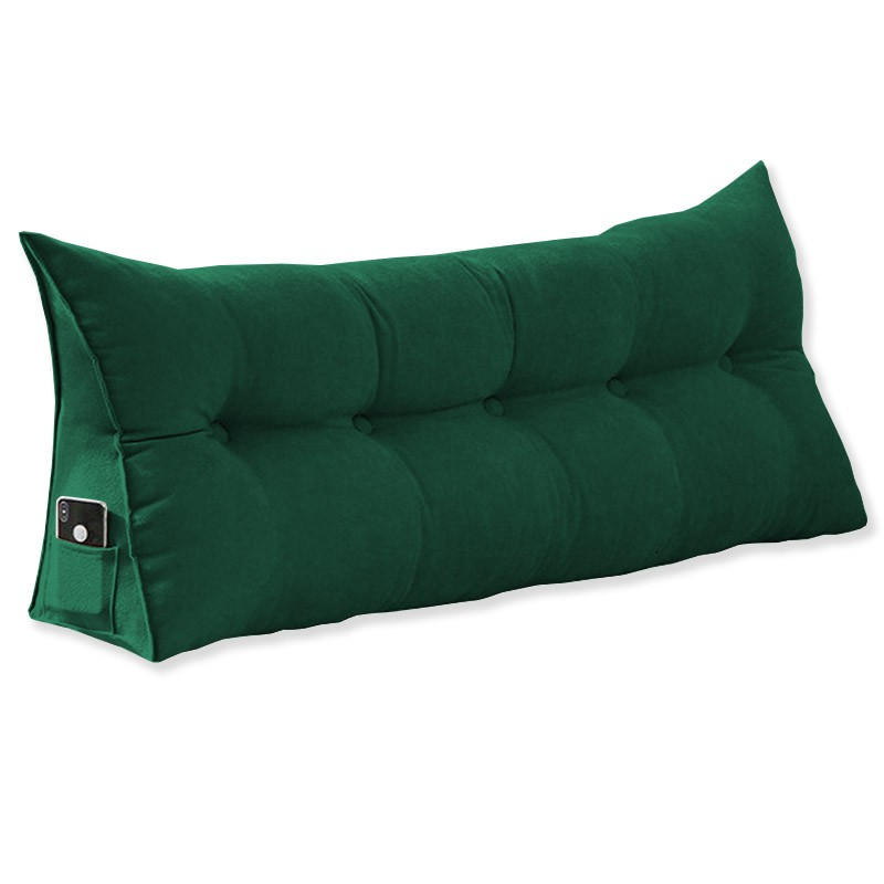 Almofada para Cabeceira Mel 1,00 m Solteiro Travesseiro Apoio para Encosto Macia Formato Triângulo Suede Verde Bandeira