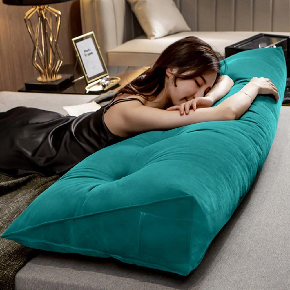 Almofada para Cabeceira Mel 0,90 cm Solteiro Travesseiro Apoio para Encosto Macia Formato Triângulo Suede Azul Tiffany