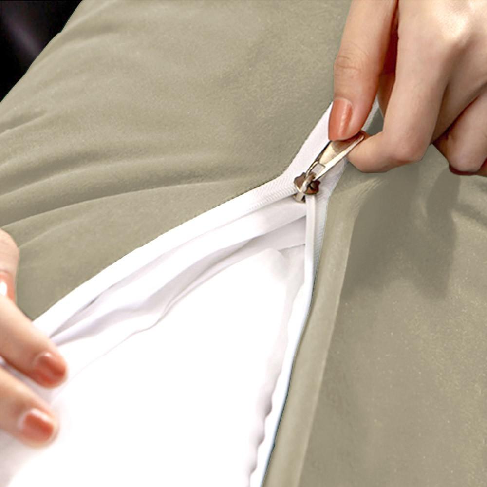 Almofada para Cabeceira Mel 0,90 cm Solteiro Travesseiro Apoio para Encosto Macia Formato Triângulo Suede Bege
