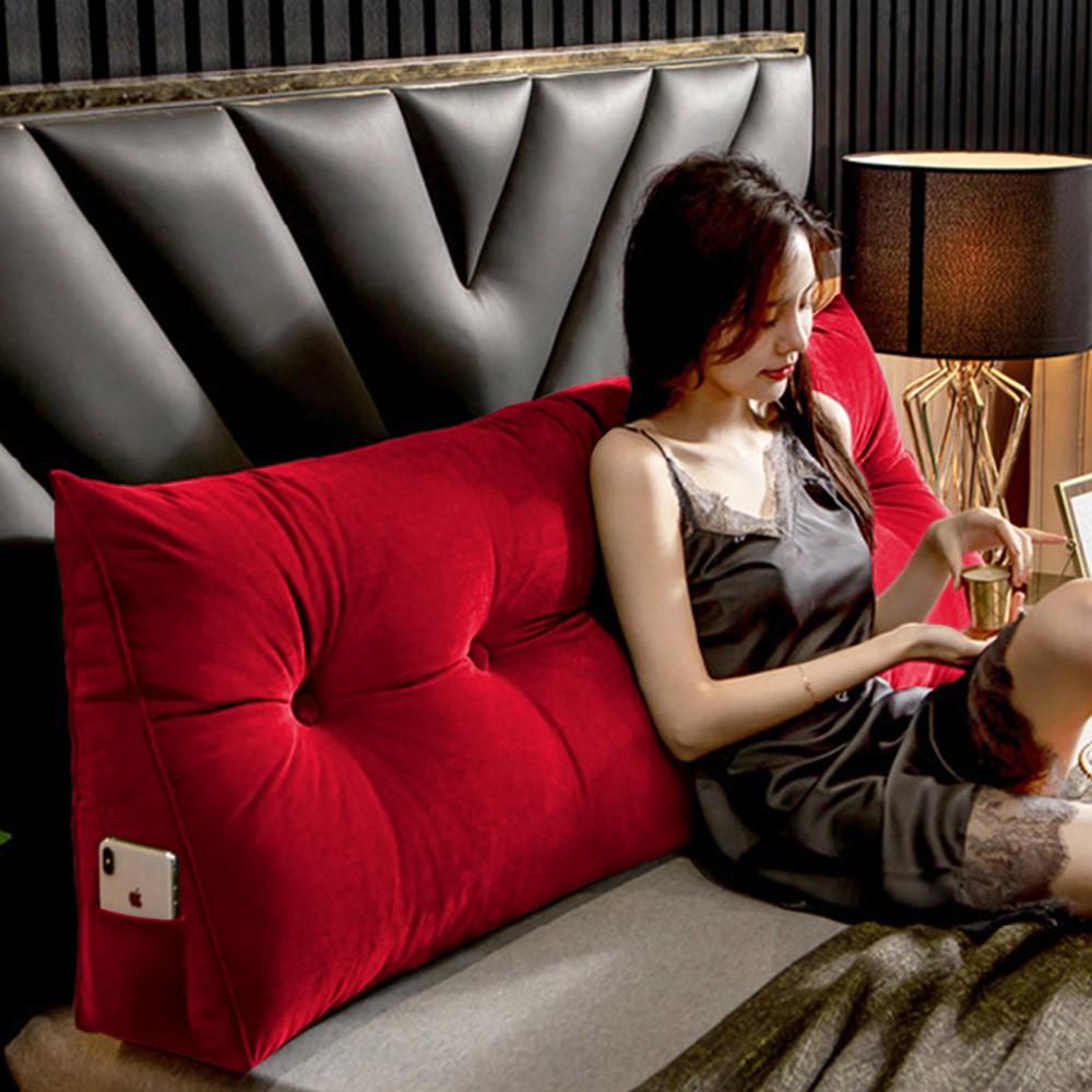 Almofada para Cabeceira Mel 0,90 cm Solteiro Travesseiro Apoio para Encosto Macia Formato Triângulo Suede Vermelho