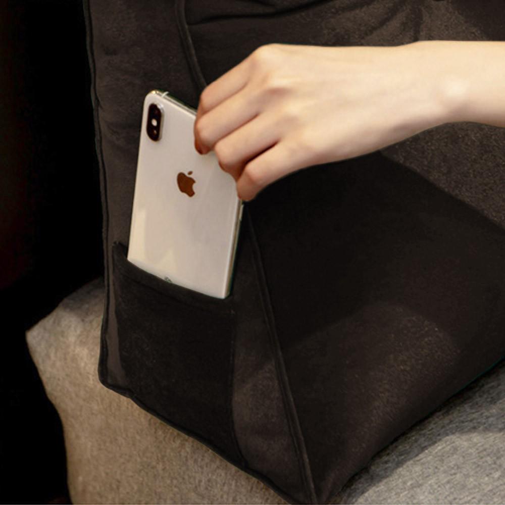 Almofada para Cabeceira Mel 0,90 cm Solteiro Travesseiro Apoio para Encosto Macia Formato Triângulo Suede Marrom