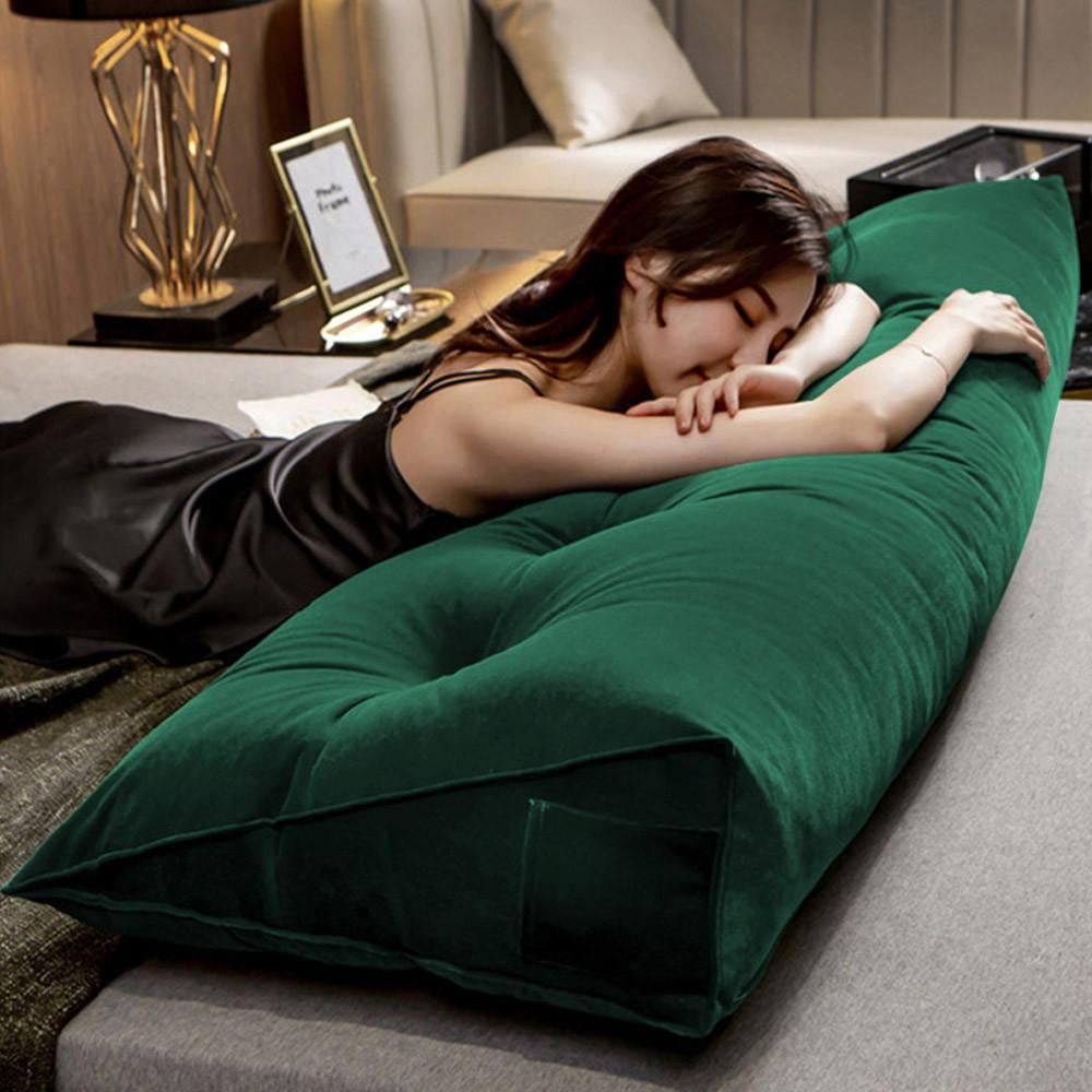Almofada para Cabeceira Mel 0,90 cm Solteiro Travesseiro Apoio para Encosto Macia Formato Triângulo Suede Verde Bandeira