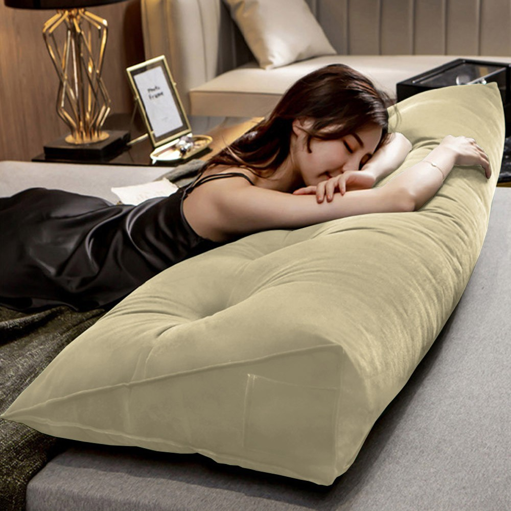 Almofada para Cabeceira Mel 1,40 m Casal Travesseiro Apoio para Encosto Macia Formato Triângulo Suede Bege