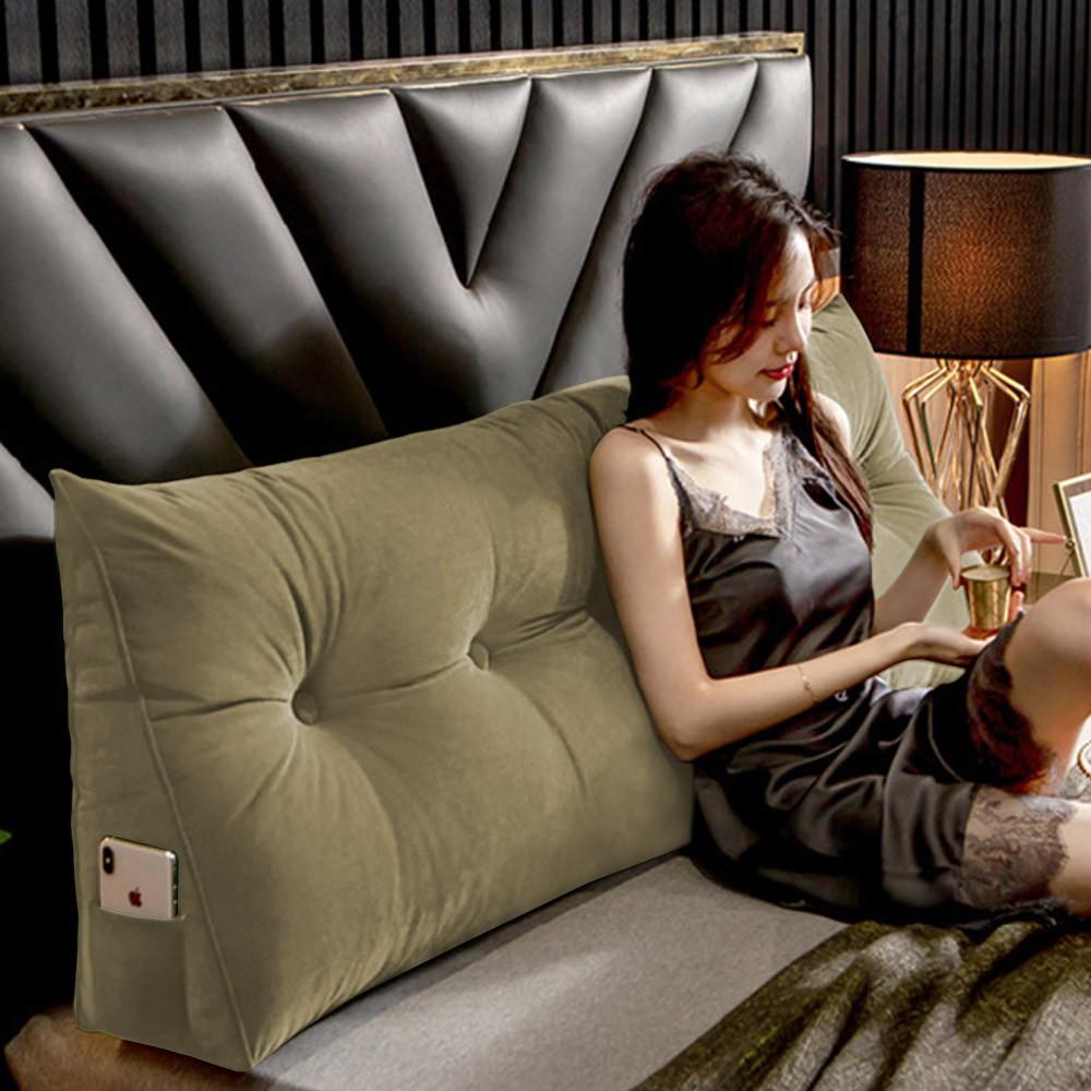 Almofada para Cabeceira Mel 1,40 m Casal Travesseiro Apoio para Encosto Macia Formato Triângulo Suede Nude