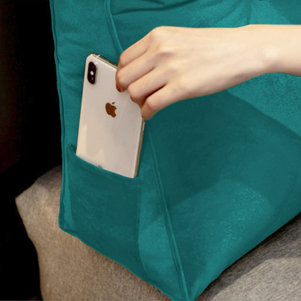 Almofada para Cabeceira Mel 1,40 m Casal Travesseiro Apoio para Encosto Macia Formato Triângulo Suede Azul Tiffany