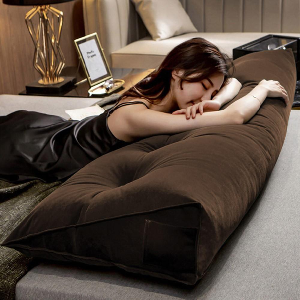 Almofada para Cabeceira Mel 1,40 m Casal Travesseiro Apoio para Encosto Macia Formato Triângulo Suede Marrom