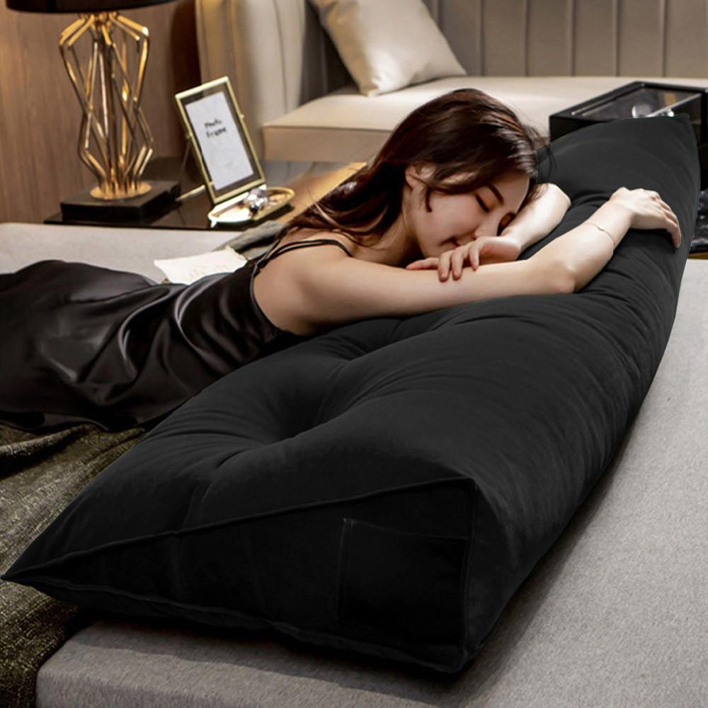 Almofada para Cabeceira Mel 1,40 m Casal Travesseiro Apoio para Encosto Macia Formato Triângulo Suede preto