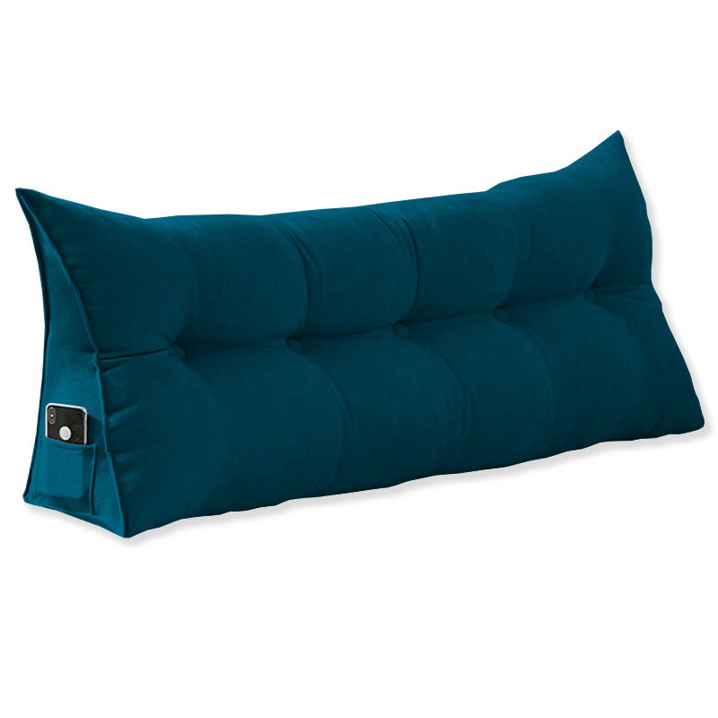 Almofada para Cabeceira Mel 1,40 m Casal Travesseiro Apoio para Encosto Macia Formato Triângulo Suede Azul Marinho