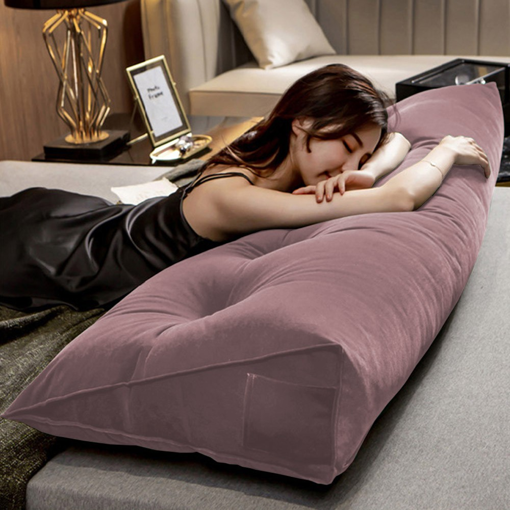 Almofada para Cabeceira Mel 1,40 m Casal Travesseiro Apoio para Encosto Macia Formato Triângulo Suede Crepe