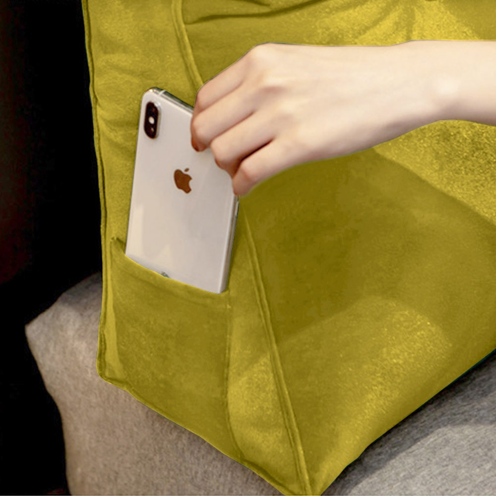 Almofada para Cabeceira Mel 1,60 m Queen Travesseiro Apoio para Encosto Macia Formato Triângulo Suede Amarelo