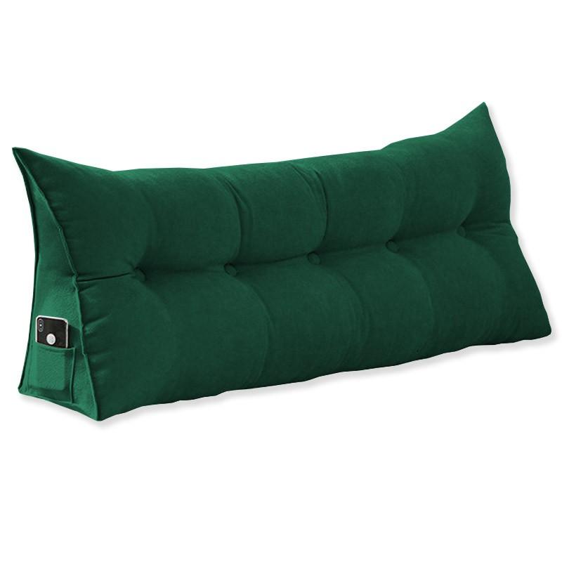 Almofada para Cabeceira Mel 1,60 m Queen Travesseiro Apoio para Encosto Macia Formato Triângulo Suede Verde Bandeira