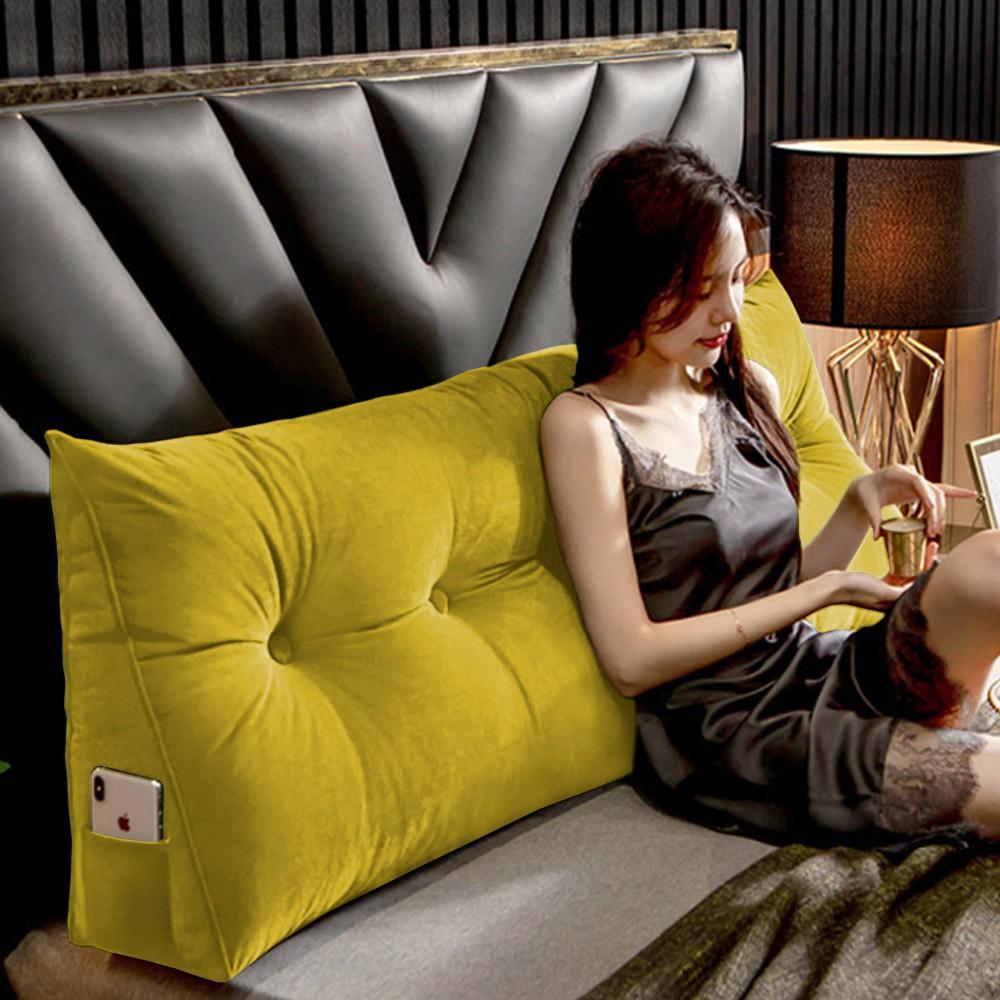 Almofada para Cabeceira Mel 1,95 m King Travesseiro Apoio para Encosto Macia Formato Triângulo Suede Amarelo