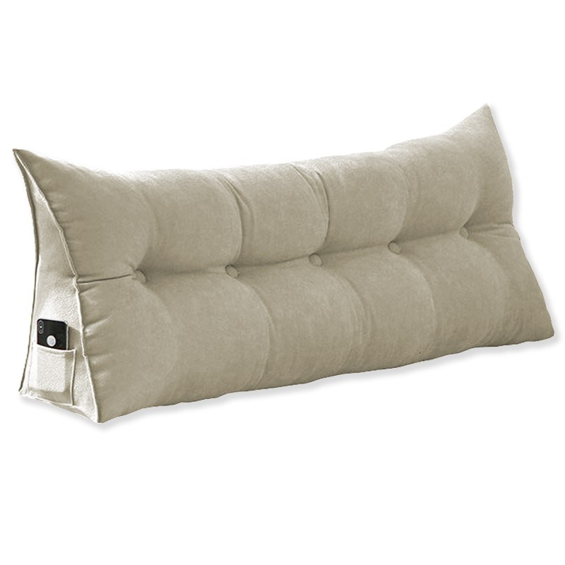 Almofada para Cabeceira Mel 1,95 m King Travesseiro Apoio para Encosto Macia Formato Triângulo Suede Bege