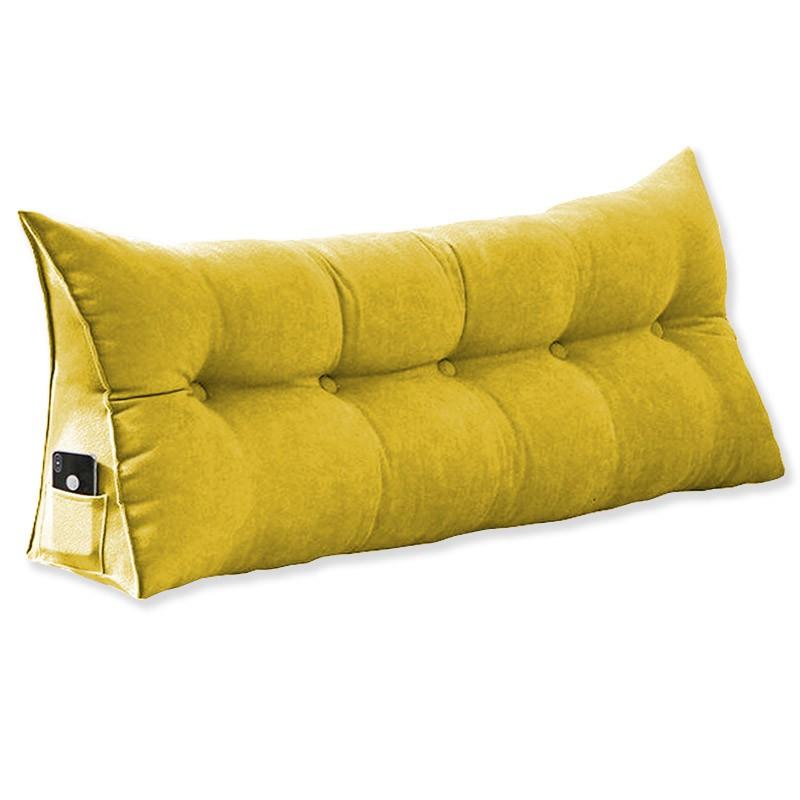Almofada para Cabeceira Mel 1,00 m Solteiro Travesseiro Apoio para Encosto Macia Formato Triângulo Suede Amarelo