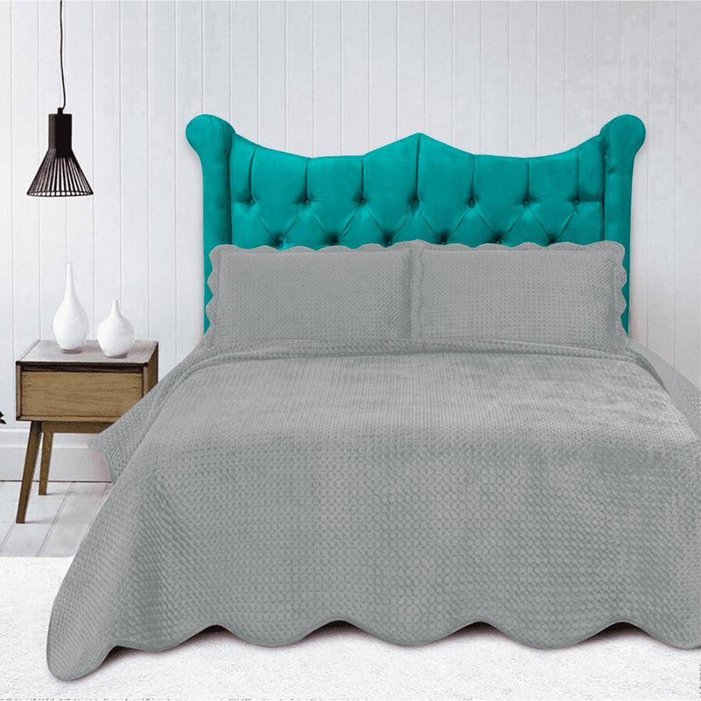 Cabeceira Cama Box Casal 1,40 m Morgana Estofada Suede Azul Tiffany