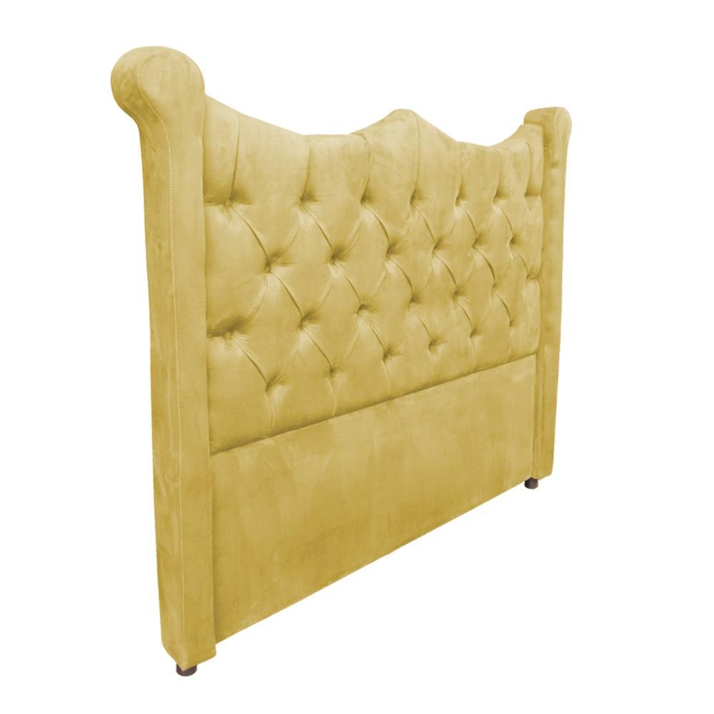 Cabeceira Cama Box King 1,95 m Morgana Estofada Suede Amarelo