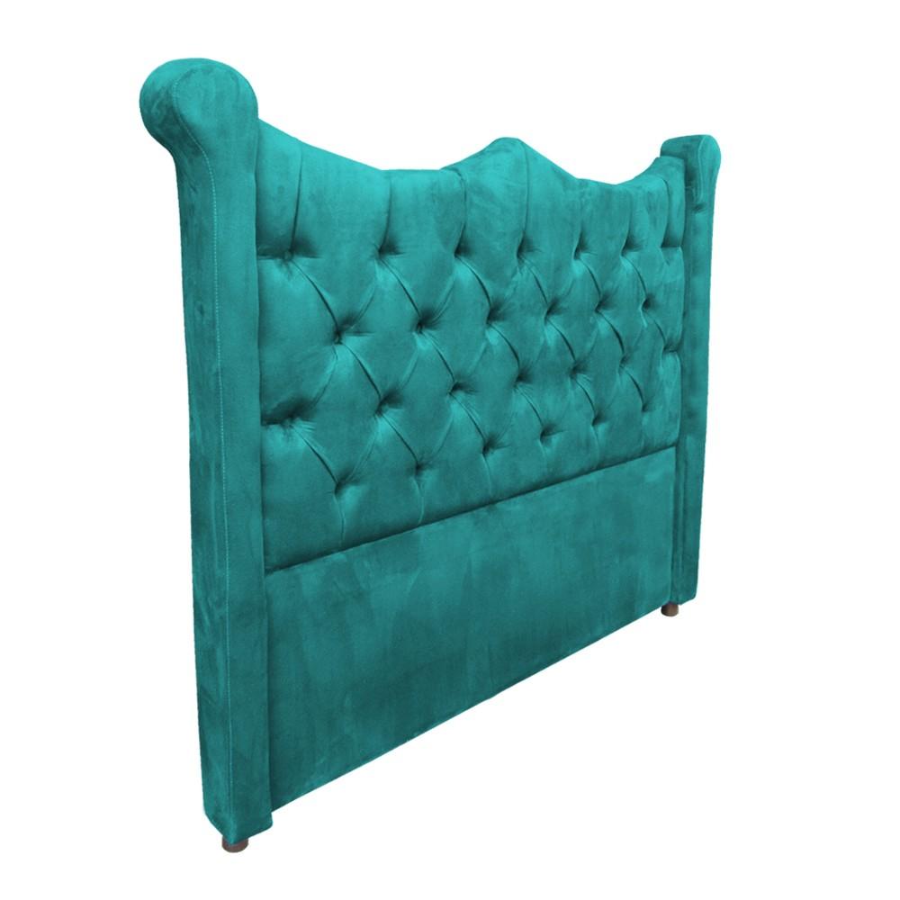 Cabeceira Cama Box King 1,95 m Morgana Estofada Suede Azul Tiffany