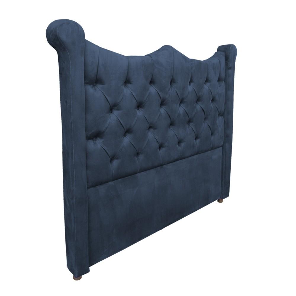 Cabeceira Cama Box Queen 1,60 m Morgana Estofada Suede Azul Marinho
