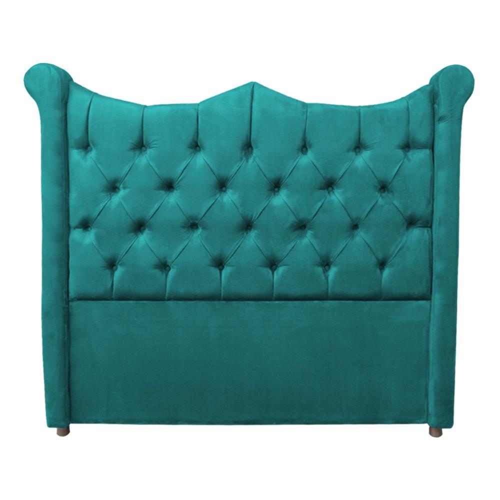 Cabeceira Cama Box Queen 1,60 m Morgana Estofada Suede Azul Tiffany
